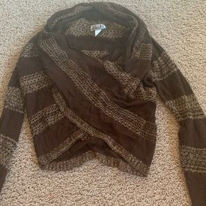 brown turtle neck cropped sweater